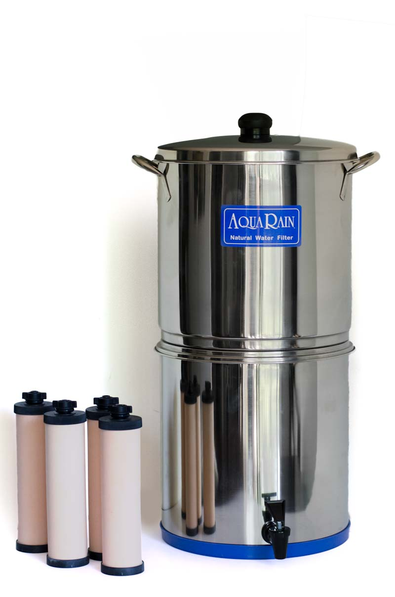 AquaRain Natural Gravity Water Filter Model 404 with Stainless Steel Vessels and four ceramic filter elements